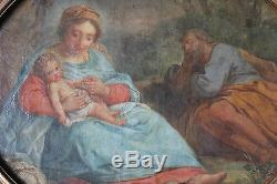 Tableau ancien HST Scène bibliqe La Vierge à l'Enfant et saint Joseph Anonyme