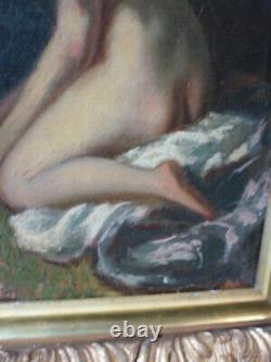 Tableau ancien HST école romantique femme nu sorti du bain XIXe annoté renoir