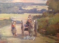 Tableau ancien Henri PERROT (1896 1976) Huile impressionniste Provence animée