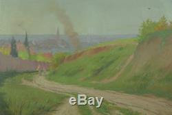 Tableau ancien Hst grand Paysage vue de Toulouse animée 19e Georges Castex cadre