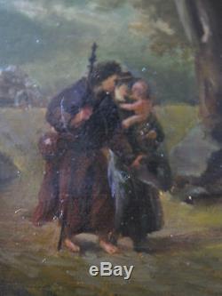 Tableau ancien Huile Barbizon Paysage animé Scene villageoise J. CHARTIER XIXe