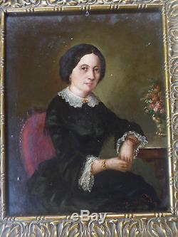 Tableau ancien/ Huile-DOMBROWSKI- Portrait Femme-XIXe-Pologne/Autriche-OIL