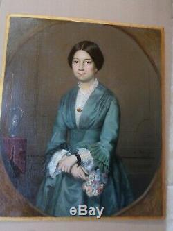 Tableau ancien-Huile-Femme au bouquet -XIXe-signé L. BLONDEAU-1892-oil