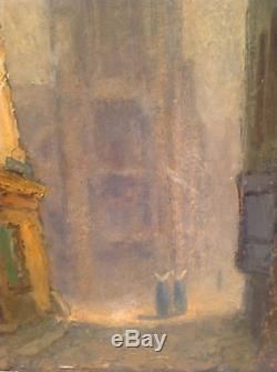 Tableau ancien Huile Impressionniste Paysage Amiens Nonnes signé A. Rabouille