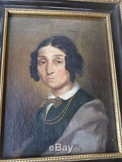 Tableau ancien/ Huile- Portrait Femme-XIXe- cadre-OIL