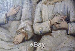 Tableau ancien Huile Sainte Trinité très vieille peinture très vieux travail