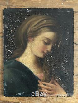Tableau ancien Huile Sur Panneau Portrait De Femme