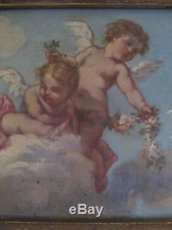 Tableau ancien Huile Toile Anges Putti Angelots XIXe Shabby French Painting