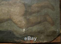 Tableau ancien Huile Toile Portrait Putti Angelot Anges Religieux XVIIIe Shabby