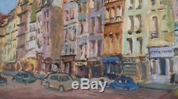 Tableau ancien Huile /gouache sur papier de Marco Behar. Avenue de Paris XXème