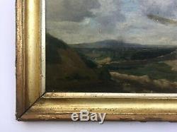 Tableau ancien, Huile sur carton, Paysage nuageux, Encadré, XIXe