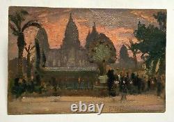 Tableau ancien Huile sur carton, Temple d'Angkor, Exposition coloniale Début XXe