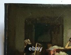 Tableau ancien, Huile sur carton fin, Scène d'intérieur, Fin XIXe