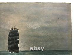 Tableau ancien, Huile sur isorel, Marine, Bateau, Voilier, Trois-mâts, Début XXe