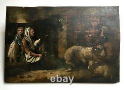 Tableau ancien, Huile sur panneau, Personnages dans une étable, XIXe