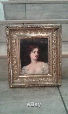 Tableau ancien. Huile sur panneau. Portrait femme rousse à la robe blanche. 19 èm