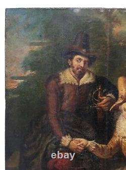 Tableau ancien, Huile sur panneau, Scène galante, XIXe ou avant