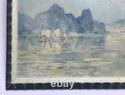 Tableau ancien, Huile sur panneau, Vietnam, Baie de Fai-Tsi-Long, Encadré, XXe