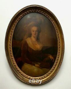 Tableau ancien, Huile sur panneau ovale bombé, Portrait de femme, Encadré, XIXe