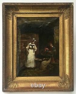 Tableau ancien, Huile sur papier marouflé sur toile, Cadre ancien, XIXe