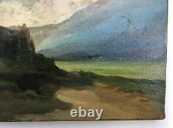 Tableau ancien, Huile sur papier marouflé sur toile, Paysage aux ruines, XIXe