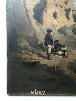 Tableau ancien, Huile sur toile, Chasseurs alpins devant des ruines, XIXe