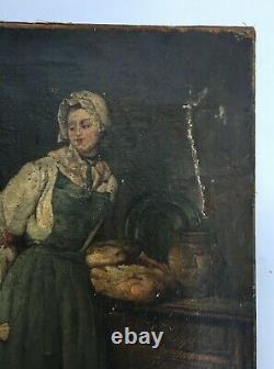 Tableau ancien, Huile sur toile, Cuisinière, XIXe