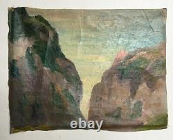 Tableau ancien, Huile sur toile, Falaises, Côte rocheuse, Bretagne Début XXe