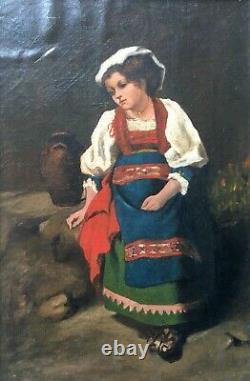 Tableau ancien, Huile sur toile, Jeune fille en costume, Italie, Ciociaria, XIXe