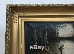 Tableau ancien, Huile sur toile, Jeune pêcheur, Encadré, XIXe