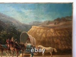 Tableau ancien, Huile sur toile, La moisson, Ecole d'Amérique du Sud XIXe