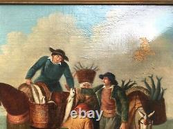Tableau ancien, Huile sur toile, Marchands de poisson, XIXe ou avant