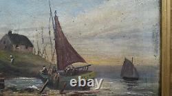 Tableau ancien Huile sur toile Marine Bretagne