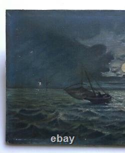 Tableau ancien, Huile sur toile, Marine nocturne, Fin XIXe