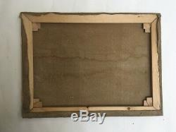 Tableau ancien, Huile sur toile, Monogramme, Scène de moisson