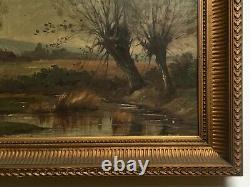 Tableau ancien, Huile sur toile, Paysage à la mare, Encadré, Fin XIXe