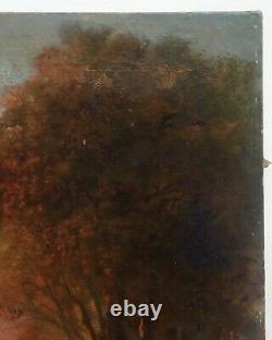 Tableau ancien, Huile sur toile, Paysage de forêt avec personnages, XIXe