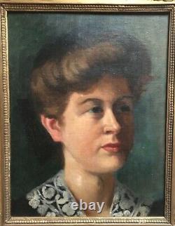 Tableau ancien, Huile sur toile, Portrait de femme, Encadré, Fin XIXe