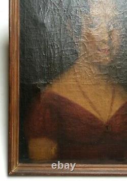 Tableau ancien, Huile sur toile, Portrait de femme, XIXe ou avant