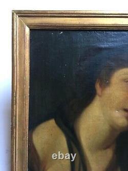 Tableau ancien, Huile sur toile, Portrait de sainte, Encadré, XIXe