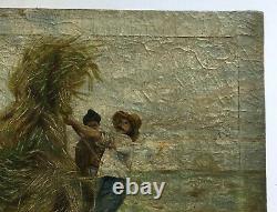 Tableau ancien, Huile sur toile, Scène de moisson, Travaux des champs, XIXe