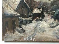 Tableau ancien, Huile sur toile, Village enneigé, XXe