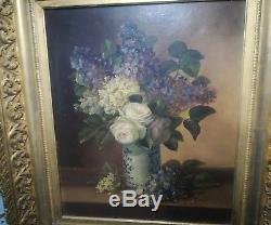 Tableau ancien Huile sur toile à restaurer Nature Morte Bouquet fleurs Durand