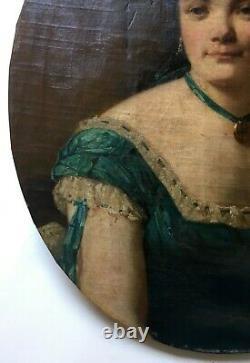 Tableau ancien, Huile sur toile à vue ovale, Portrait de jeune femme, XIXe