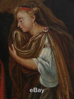 Tableau ancien Huile sur toile femme à genoux Fin XVIII ème Début XIX ème A VOIR