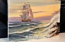 Tableau ancien Huile sur toile marine FRANCE signée Delene