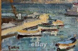 Tableau ancien Huile sur toile marine Port de Provence signé Paul Garin déb XXe