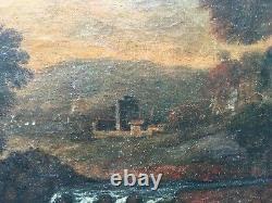 Tableau ancien, Huile sur toile marouflée sur panneau, Paysage animé, XVIIe