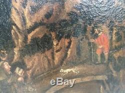 Tableau ancien, Huile sur toile, paysage avec village et religieux, époque XVIe