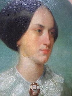 Tableau ancien/Huile/toile ovale-Peinture XIXe-Portrait FEMME au camée-oil